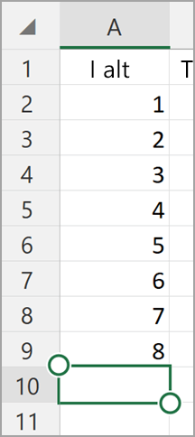 Windows-tablet Excel AutoSum