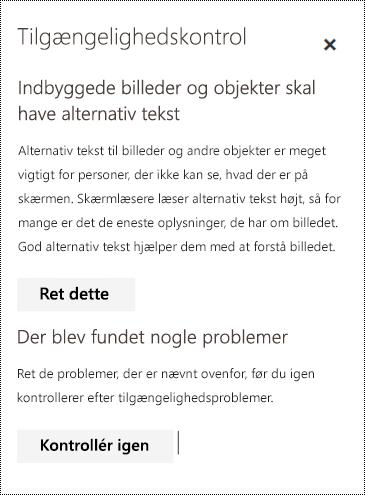 Kontrollér en mail for problemer mht. tilgængelighed i Outlook på internettet.