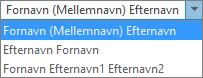 Indstillinger for Personer i Outlook, der viser indstillingerne for rækkefølgen på listen Fulde navn.