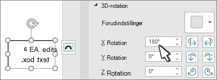 Tekstfelt med 3D-rotation x 180 GRD