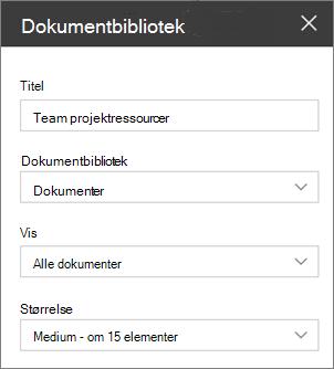 Indstillinger for webdel dokumentbibliotek