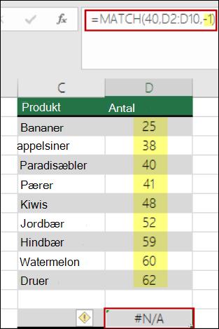 funktionen Sammenlign i Excel