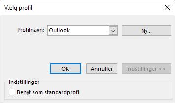 Accepter standardindstillingen for Outlook i dialogboksen Vælg profil