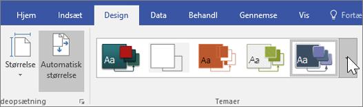 Skærmbillede af indstillingerne til Design > Tema-værktøjslinjen.