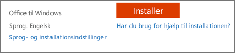Sprog- og installationsindstillinger for Office 365