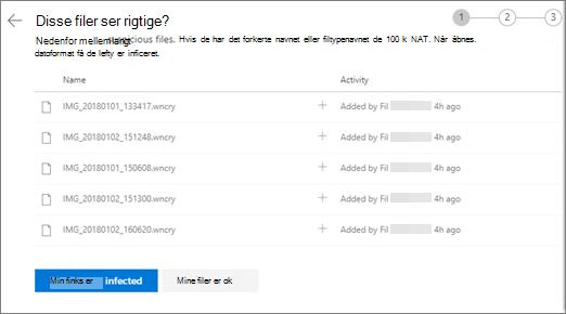 Skærmbillede af siden har disse filer højre udseendet på webstedet for OneDrive