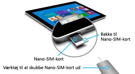 Indsættelse af et Nano fra Nano til Surface 3 (4G-LTE)
