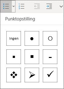 Valgt opstilling med punkttegn-knap på menubåndet Hjem i OneNote til Windows 10.