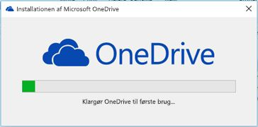 Installationsstatus for OneDrive