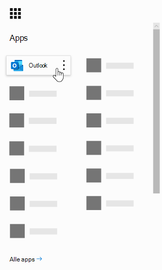 Office 365-appstarteren med Outlook-appen fremhævet.