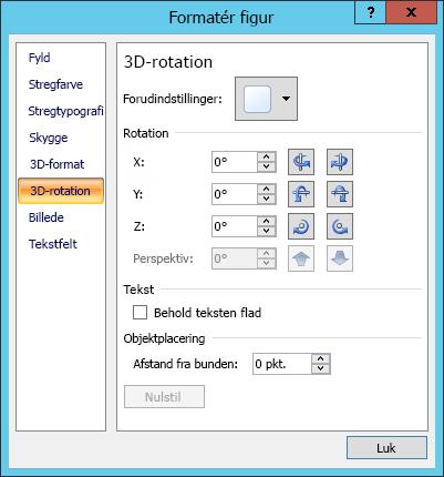 Indstillinger for 3D-rotation i dialogboksen Formatér figur
