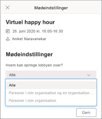 Mødeindstillinger-skærmbilledet mobil