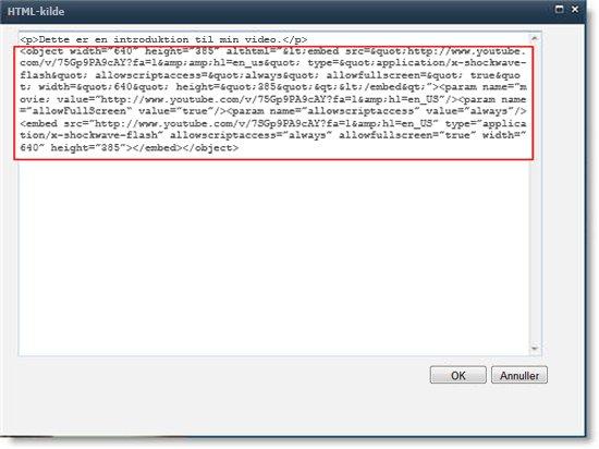 HTML-kildeeditor for webdelen Indholdsredigering med integreringskoden til en video