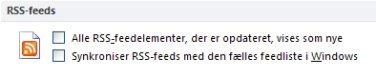 Afkrydsningsfeltet Synkroniser RSS-feeds med den fælles feedliste i Windows