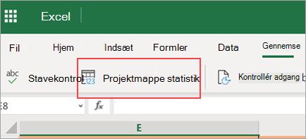 Viser menuen projektmappe statistik