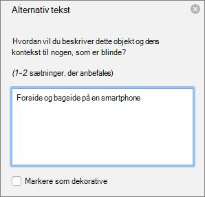 Dialogboksen Excel 365 skrive alternativ tekst til billeder