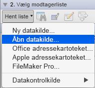 Åbn datakilde til brevfletning