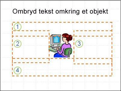 Slide med objekt, tekstfelter vist og nummererede, ingen tekst.