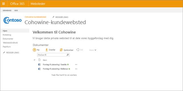 Et billede af hvordan et underordnet websted kan se ud, efter du har oprettet det.