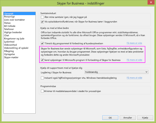 Afkrydsningsfelt for dataindsamling i Skype for Business under dialogboksen Indstillinger > Generelt