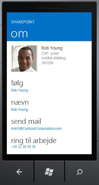 Skærmbilledet Om i SharePoint Newsfeed-app'en