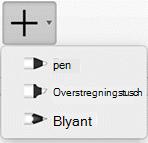 Office 365 abonnenter kan tegne blæk med tre forskellige teksturer: en blyant, en pen eller en highlighter