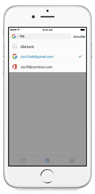"""Viser en mobilskærm med konti, der er angivet nedenfor overskriften """"Alle konti"""""""