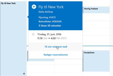 Viser rejsekort i Outlook Kalender