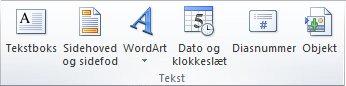 Gruppen Tekst under fanen Indsæt på båndet i PowerPoint 2010.