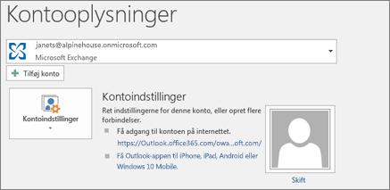 Skærmbillede visende kontooplysningssiden i Outlook i backstage-visningen.