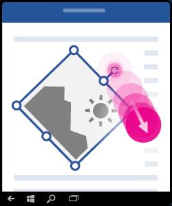Illustration, der viser, hvordan du trykker på, tilbageholder og trækker rotationshåndtaget.