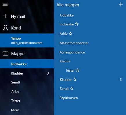 Mail og Kalender – Opret ny mappe