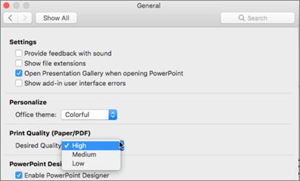Indstil udskriftskvaliteten af PDF-filen til at være Høj, Mellem eller Lav