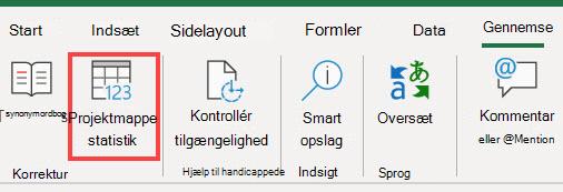 Kommandoen Statistik for projektmappe på Excel båndet