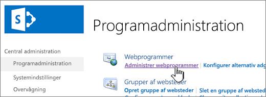Åbn indstillingerne for webprogram