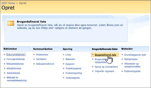 I dialogboksen Opret skal du vælge en type brugerdefineret liste