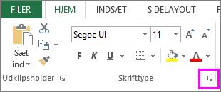 Knap med dialogboksstarter til skrifttype