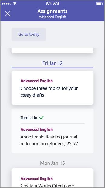Visning for studerende af opgavelisten fra en mobil enhed.