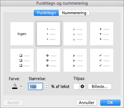 Dialogboksen Punkttegn og nummerering i Office til Mac