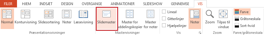 Indstillingen Slidemaster på fanen Vis.