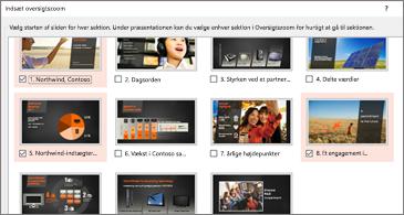 Oversigtsvisning af alle slides i en præsentation. Tre er valgt.