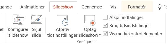 Fjerne markeringen i afkrydsningsfeltet Afspil indtalinger i under fanen SlideShow