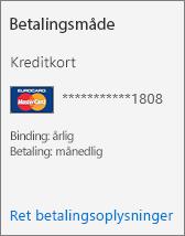 Afsnittet Betalingsmetode for et abonnementskort til et abonnement, der betaler via kreditkort.