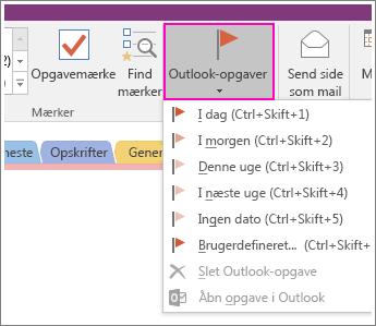 Skærmbillede af knappen Outlook-opgaver i OneNote 2016.