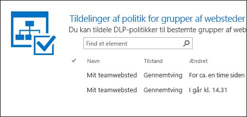 Tildeling af politikker til grupper af websteder