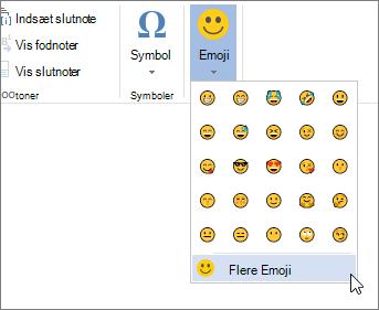 Klik på mere Emojis i Emojis knappen under fanen Indsæt til at vælge fra alle tilgængelige emojis.
