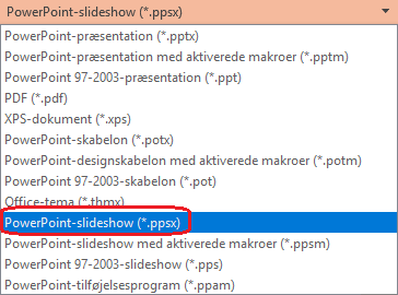 "Listen over filtyper i PowerPoint indeholder ""PowerPoint-slideshow (.ppsx)"""