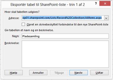 Side 1 i dialogboksen Eksportér til SharePoint.