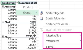 Filtreringsindstillinger for data i pivottabeller