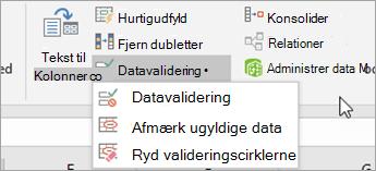 Menuen til validering af data